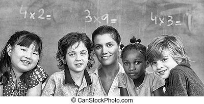 multi-ethnisch, elementar, klassenzimmer