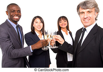 multi-ethnisch, mannschaft, toasten