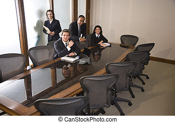multi- etnický, business četa, do, boardroom