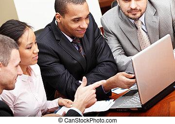 multi etnický, business četa, v, jeden, setkání