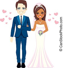 multi etnisch, paar, trouwfeest