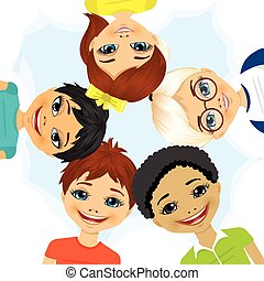 multi etnisch, vormen, cirkel, groep, kinderen