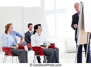 multi-etnisch, zakenlui, op, een, cursus