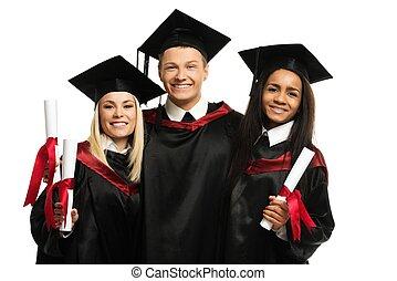 multi etnische groep, van, een diploma behaald, jonge, scholieren, vrijstaand, op wit