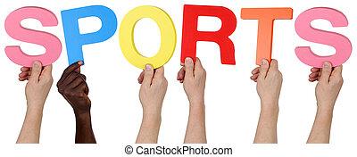 multi etnische groep, van, mensen, vasthouden, de, woord, sporten