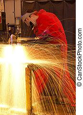 multi-exposure, corte, metal, soldador