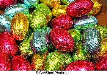 multi färgade, ägg