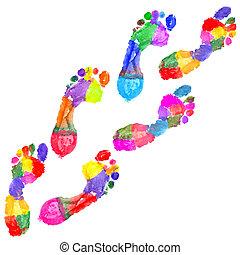 multi färgade, fotspår