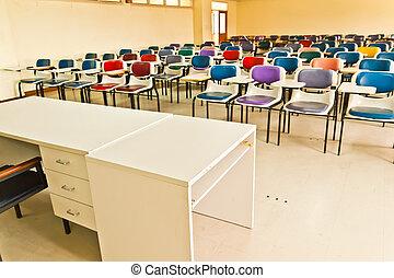 multi färgade, stol