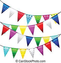 multi färgade, triangulär, flaggan, ., vektor