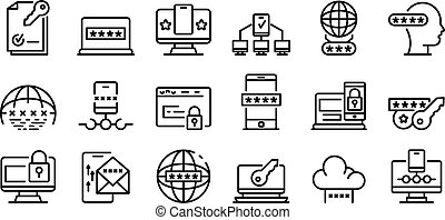 Multi-factor authentication icons set, outline style