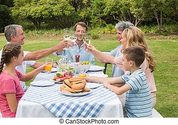 multi, famiglia, generazione, esterno, cena, altro, ciascuno, tostare