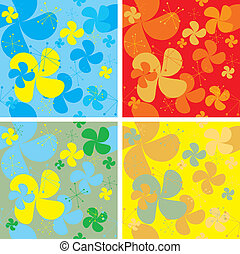Abstract seventies style wallpaper with retro styling and four color variations