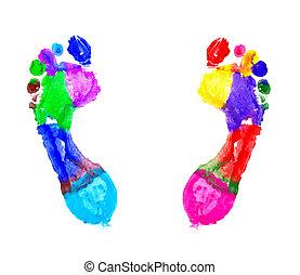 multi farvede, fodspor