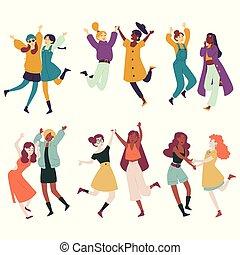 multi, femelles, danser., ensemble, amusement, divers,...