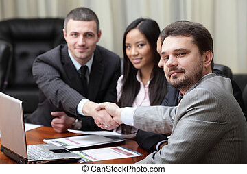 multi, firma, interacting., etniske, indstille, hold, ...