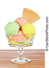 Multi flavor ice cream glass