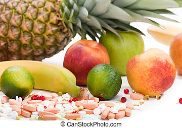 Healthy eating tropical multi fruit vitamin pills