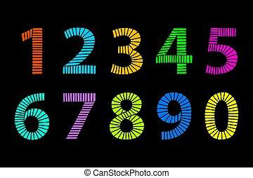 multi, gemaakt, gekleurde, op, lijnen, hand, black , getallen, getrokken