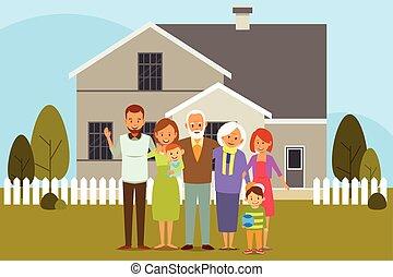 multi, generación, familia , delante de, un, casa