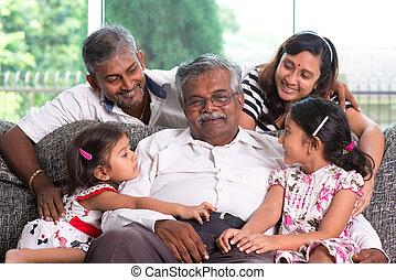 multi, generaciones, indio, familia