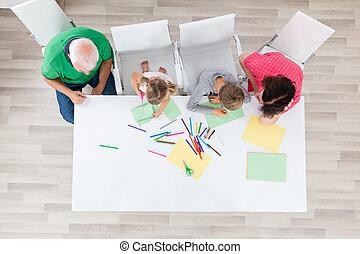 multi, generatie, gezin, doen, kunstnijjverheid, samen