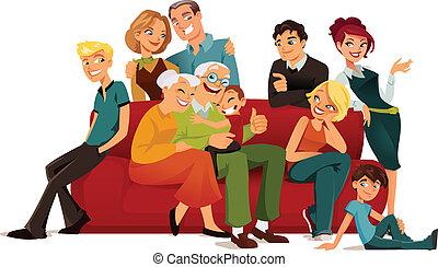 multi, generatie, gezin