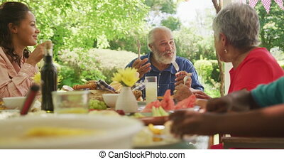 Multi-generation African American family spending time in garden together, sitting at a dinner table, eating and talking, in slow motion.