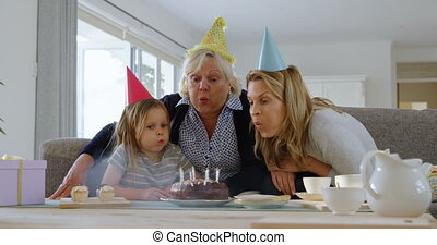 multi-generation, anniversaire, 4k, famille, célébrer,...