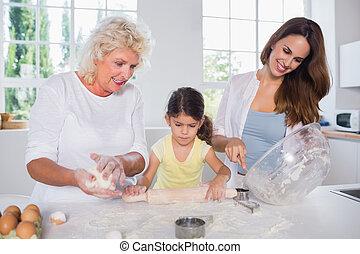 multi-generation, donne, famiglia, insieme, cottura