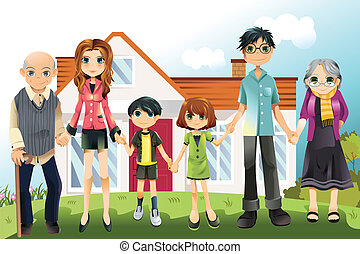Multi generation family - A vector illustration of a multi ...