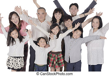 Multi generation family raise hands