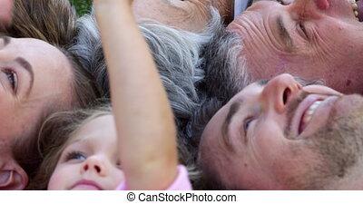 Multi generation family smiling