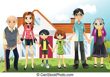 Multi generation family - A vector illustration of a multi...