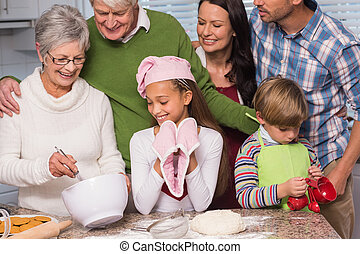 multi-generation, insieme, famiglia, cottura