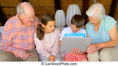 multi-generation, ordinateur portable, caucasien, vue,...