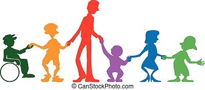 Multi-generational family - No details colorful image of a...