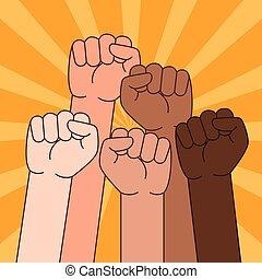 multi, gens, élevé, illustration, poing, ethnique