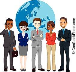 multi, globalny, businesspeople, etniczny, drużyna