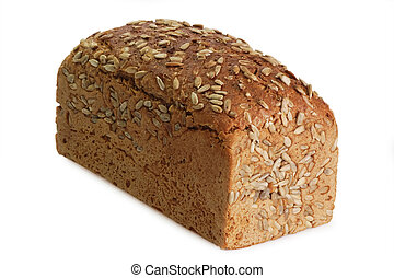 Loaf of multi-grain-bread with sunflower seeds - isolated on white background