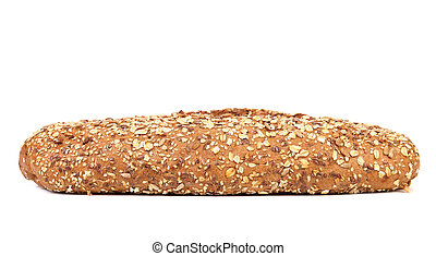 multi - grain brown bread isolated on a white background