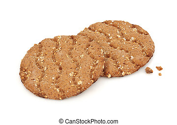 Multi grain crisp bread biscuits isolated over white background. Swedish specialty.