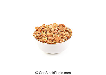 Multi grain flakes isolated on white background. Health food