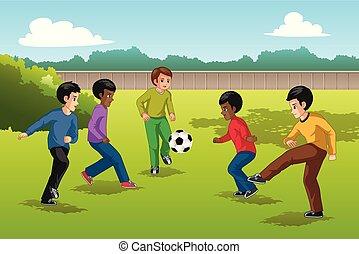 multi groupe ethnique, de, gosses, jouant football,...