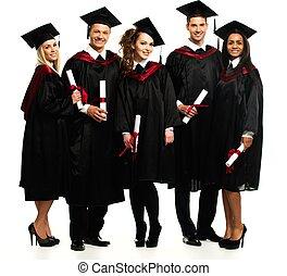 multi groupe ethnique, de, gradué, jeune, étudiants, isolé,...