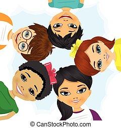 multi, groupe, former, ethnique, cercle, enfants