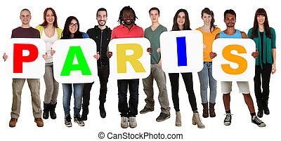 multi, groupe, gens, paris, jeune, tenue, ethnique, mot