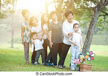 multi, grupa, rodzina, cielna, asian, generacje