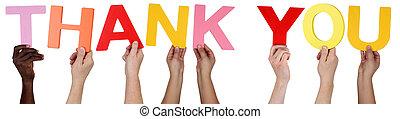 multi, grupo, agradecer, gente, tenencia, étnico, palabra,...