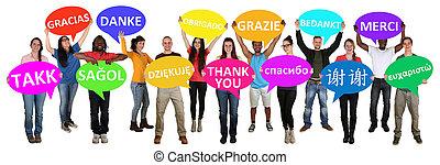 multi, grupo, agradecer, pessoas, jovem, fala, segurando,...